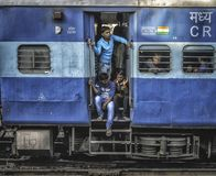Sleeper class train in india full of poor people stock images