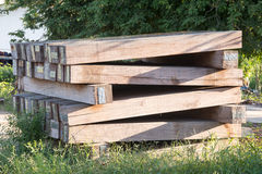 The sleeper railway. this is old wood. Old railway sleeper with iron bolts Stock Photo