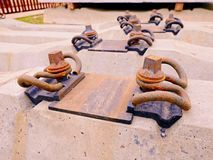 Sleepers Production. Concrete Casting And Assembly. New Concrete Railway Ties Stored Royalty Free Stock Photography