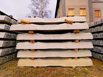 Sleepers production. Concrete casting and assembly.  New concrete railway ties stored Royalty Free Stock Photo