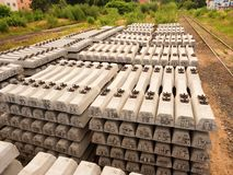 Sleepers stock in railway depot. Concrete railway ties stored for reconstruction Stock Photography