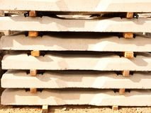 Sleepers stock in railway depot. Concrete railway ties stored for reconstruction Royalty Free Stock Image