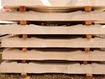 Sleepers stock in railway depot. Concrete railway ties stored for reconstruction Royalty Free Stock Photo