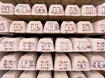Sleepers stock in railway depot. New concrete railway ties stored for reconstruction of old railway station. Royalty Free Stock Photography