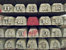 Sleepers stock in railway depot. New concrete railway ties stored for reconstruction of old railway station. Stock Photo