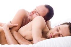 Sleeping 2 men stock photos