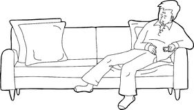 Sleeping Adult with TV Remote. Outline cartoon of single man with TV remote on sofa Stock Image