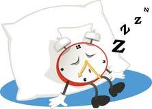 Sleeping alarm clock. Cartoon alarm clock sleeping on a pillow,  illustration Stock Image