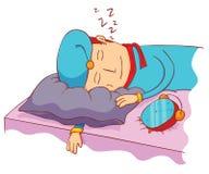 Sleeping with alarm clock Royalty Free Stock Image