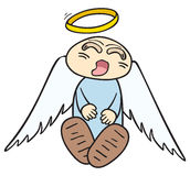 Sleeping angel. Sleeping little angel with halo over head Stock Photo