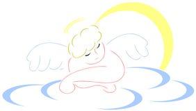 Sleeping angel. Image representing a nice stylized sleeping angel on a cloud Stock Image