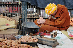 Sleeping Arab Vegetable Seller Agadir Market, Morocco Royalty Free Stock Images