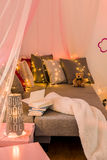 Sleeping area with big bed Royalty Free Stock Images