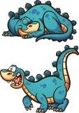 Sleeping and awake dinosaur. Sleeping and awake cartoon dinosaur. Vector clip art illustration with simple gradients. Each on a separate layer Stock Photos