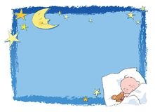 Sleeping baby. A blue frame with moon, stars and a tender sleeping baby. Vector illustration Stock Images
