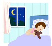 Sleeping baby. Little girl sleeping in bedroom. Vector Illustration Royalty Free Stock Image