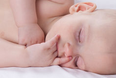 Sleeping baby. Sweet little baby sleeping on bed Royalty Free Stock Photo
