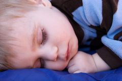 Sleeping baby. Portrait of a caucasian baby boy sleeping Stock Photos