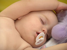 Sleeping Baby. Baby with pacifier sleeping with soft toy in her hands royalty free stock images