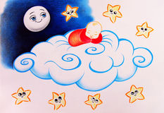 Sleeping Baby. A sleeping baby on a huge cloud surrounded by little smiling stars and the moon watching him. Pencil drawing Royalty Free Stock Photo