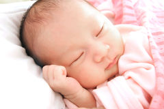 Sleeping Baby. Closeup of sleeping baby lying in a comfortable position Stock Photography