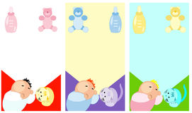 Sleeping Baby and accesories cards Stock Images