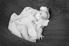 Sleeping baby B/W Stock Photography