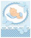 Sleeping baby boy stock illustration