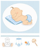 Sleeping baby boy arrival announcement. Sleeping boy arrival announcement. Photo frame with baby toys royalty free illustration