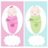 Sleeping baby, boy, girl vector greeting Stock Photo