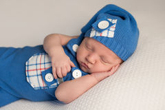 Sleeping Baby Boy in an Upcycled Romper Royalty Free Stock Images