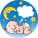 Sleeping Baby Boy. Vector illustration of a cute sleeping baby boy sucking his own thumb Royalty Free Stock Photos