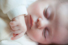 Close up the sleeping baby Stock Photos