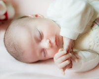Close up the sleeping baby Stock Photo
