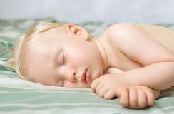 Sleeping baby cute funny blond Royalty Free Stock Photography