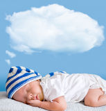 Sleeping baby with dream cloud. Sleeping baby closeup portrait with dream cloud for image or text Stock Photo