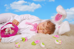 Sleeping baby in easter bunny costume Royalty Free Stock Images
