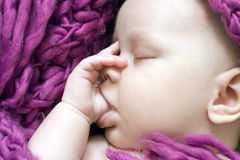 Sleeping baby girl stock images