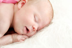 Sleeping Baby Girl. One month old baby girl sleeping sound on a blanket with room for your text Stock Photo
