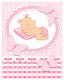 Sleeping baby girl. In pink frame. Editable vector illustration Stock Photos