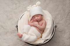 Sleeping Baby Girl in Bucket Royalty Free Stock Photo