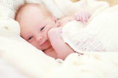 Sleeping baby girl. Newborn sleeping baby girl on a white blanket Royalty Free Stock Photos