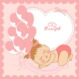 Sleeping baby girl in pink frame Stock Photography