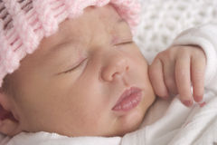 Sleeping baby girl. Portrait of cute young baby girl sleeping Royalty Free Stock Image