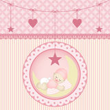 Sleeping baby girl. Scalable vectorial image representing a sleeping baby girl, isolated on white Stock Photo