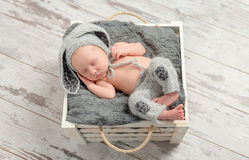 Sleeping baby in gray panties and hat with hare ears Stock Photo