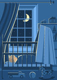 Sleeping Baby. Illustration of children room with sleeping baby in his bed at night and his toys Royalty Free Stock Photography