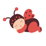 Sleeping baby in a ladybug costume with wings. Ladybug baby, costume of a ladybug with wings, sleeping baby dressed as a ladybug Stock Photography