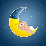 Sleeping baby on the moon in the moonlight Royalty Free Stock Image