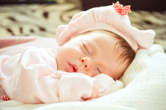 Sleeping baby newborn close up Stock Images